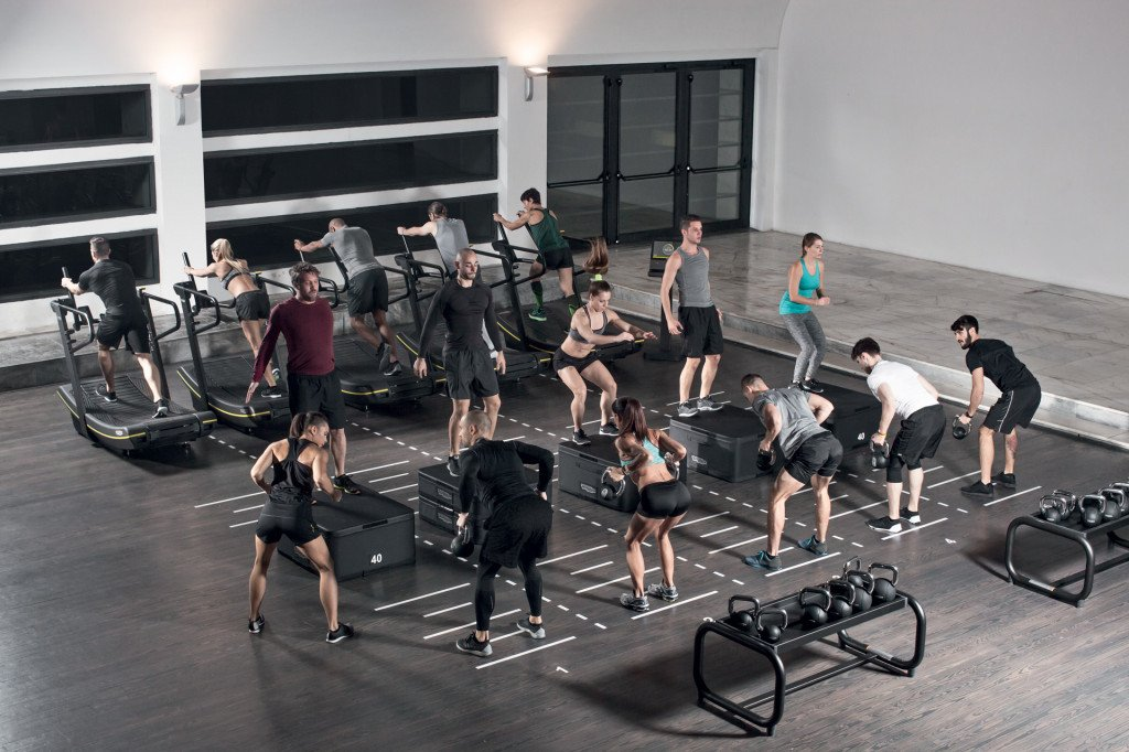 circuit trainig with skillmill equipment in the gym