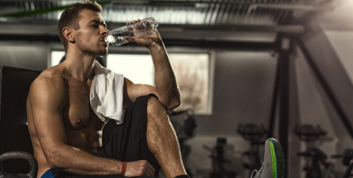 drink water during a training session