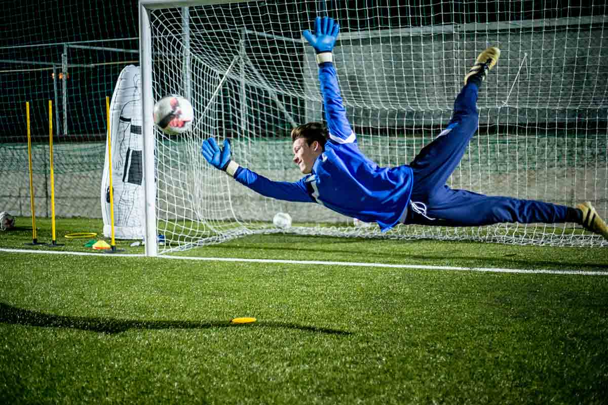 Goalkeeper Catching the Ball in Mid Air