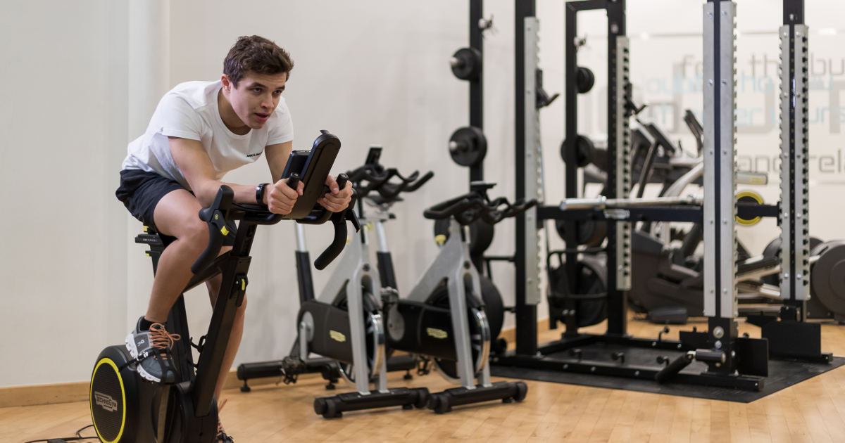 Lando Norris training with Technogym